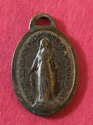 Antique Religious Catholic Holy Medal - FRANCE - Miraculous / VERY OLD & WORN