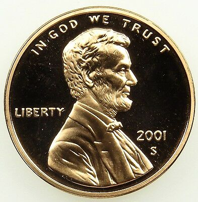 2001 S Deep Cameo Proof Lincoln Memorial Cent Penny (B01)