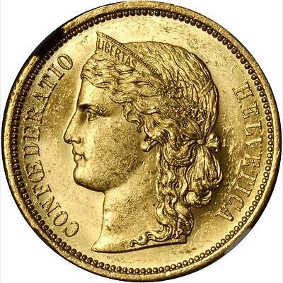 Switzerland Republic  1883 20 Francs Gold Coin, Uncirculated Certified Ngc Ms62