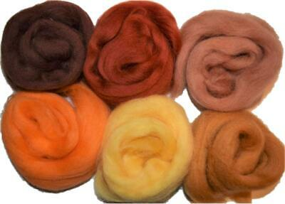 100gr Brown Orange Fine Merino Wool Roving Fiber Pack for Felting Weaving 21 mic