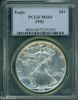 1992 American Silver Eagle ASE S$1 PCGS MS69 MS-69 PQ+ BEAUTIFUL