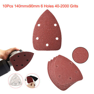 10Pcs 140mmx90mm 6 Hole 40-2000 Grit Hook and Loop Mouse Sandpaper Sanding Discs