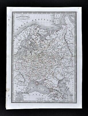 1839 Monin Map Russia in Europe Moscow St. Petersburg Poland Crimea Ukraine