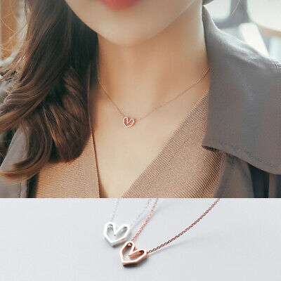 925 Sterling Silver Heart Hollow Necklace Chain Charm Pendant