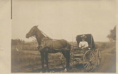 HORSE DRAWN CARRIAGE w/ LADY ANTIQUE REAL PHOTO POSTCARD RPPC