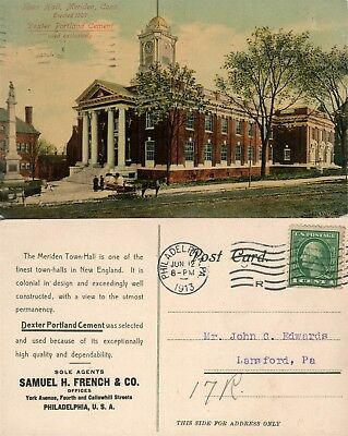 Meriden Ct Town Hall 1913 Antique Postcard Dexter Portland Cement Advertising