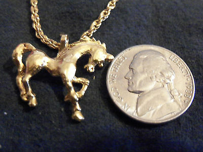 bling gold plate race show horse pendant charm fashion chain necklace jewelry GP