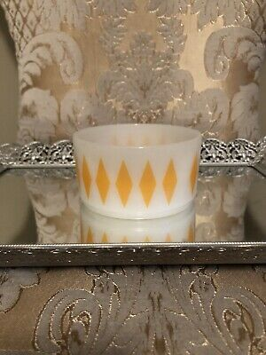 Vintage Fire King Milk Glass Yellow Diamond Cereal Soup Snack Bowl Oven Ware