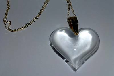 """Lalique  Crystal Large Heart Necklace & 18"""" Gold  Chain - Investment Outstanding"""
