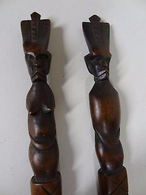 """CARVING TRIBAL  -Three Vintage Tribal Art Carved Wood Ceremonial Pieces 22-29"""""""
