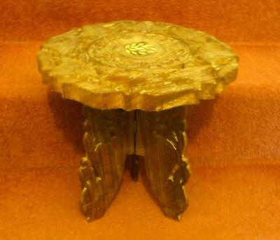 Stool - Beautiful Carved Old Stool / Lovely Marketry In The Centre Fold Awy Legs