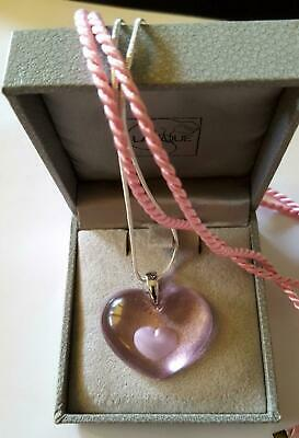 Pendant Lalique Fabulous Sapphire Pink Heart 925 Silver Chain/Silk Cord Stunning
