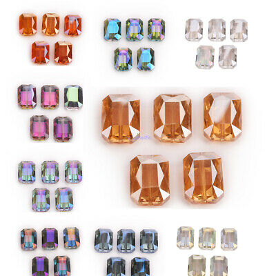 10Pcs Square Crystal Glass Charms Loose Beads Spacer Wholesale 14mm+18mm+26mm