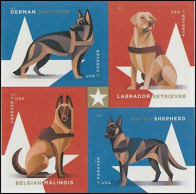 US 5408a Military Working Dogs forever block set (4 stamps) MNH 2019 after 8/15