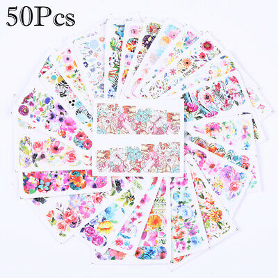 50Pcs Nail Water Transfer Stickers Flower Decals 5.3*6.4cm Nail Art Decoration