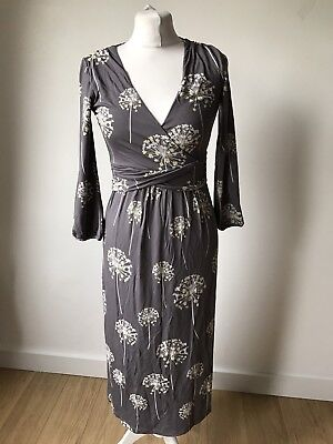 ef57f395c815 Gorgeous Boden Grey Print Jersey Jersey Wrap Look Midi Dress UK 8 L Worn  Once