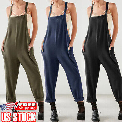Women Plus Size Overall Dungarees Jumpsuit Casual Cotton Linen Playsuit Trousers