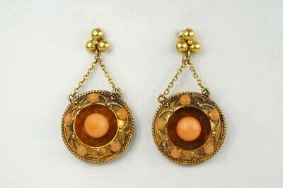 ANTIQUE VICTORIAN ENGLISH 15K GOLD CORAL ETRUSCAN REVIVAL EARRINGS c1870