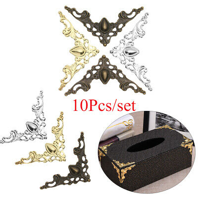 10Pcs/set Corner Brackets Book Corner Protector Antique Bronze Box Decor Metal