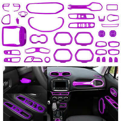 31x Purple Inner Accessories Decoration Dashboard Cover Trim For Jeep Renegade