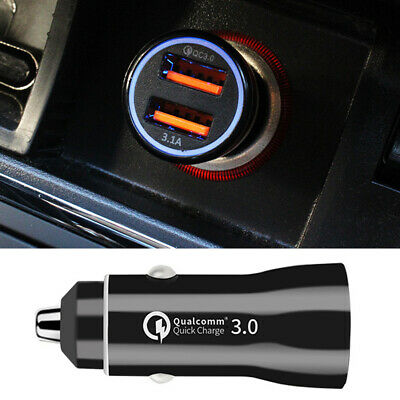 QC3.0 3.1A Fast Charging USB Car Charger Cigarette Lighter Socket Adapter FILL
