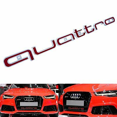 Red QUATTRO Front Grill Logo Badge Emblem Sticker Fit Audi A1 A3 RS3 RS4 RS5 RS6