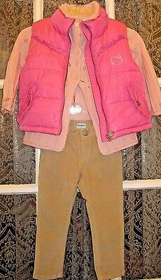 H&M~Hello Kitty~Complete outfit~Toddler Girl 2T~Puffer Vest~Corduroy~Pants~Pink