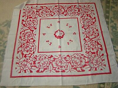 "1940'S Vintage 100% Cotton Tablecloth With Holes &  Stains.42"" X 40"" Cutter"