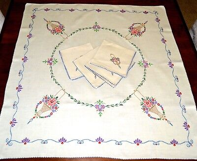 Vintage Embroidered Small Tablecloth Napkin Set Petit Point Cross Stitch Floral