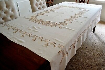 VINTAGE 1950s HAND EMBROIDERED LINEN TABLECOTH SNOWFLAKES BROWN WHITE 68X82""