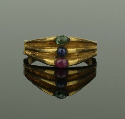 ANCIENT MEDIEVAL GOLD EMERALD,SAPPHIRE & RUBY RING - CIRCA 14th/15th Century AD