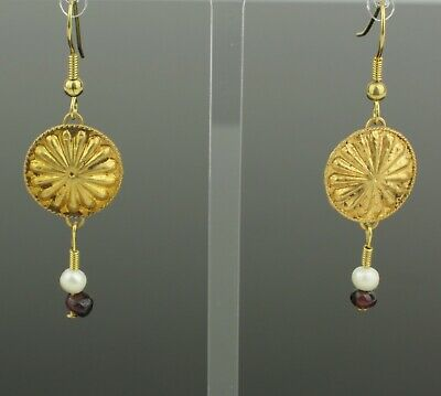 ANCIENT ROMAN GOLD, PEARL & GARNET  BEAD EARRINGS - CIRCA 2nd Century AD   893