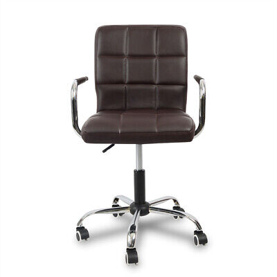 Modern PU Leather Computer PC Study Office Chair Brown Adjustable Height Wheels