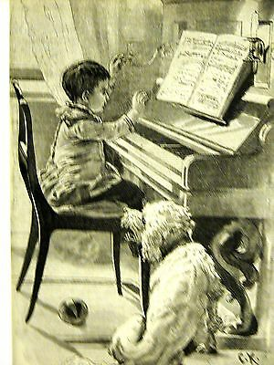 Piano Playing Duet BOY PRACTICING & DOG SINGING MUSIC 1888 Antique Print Matted