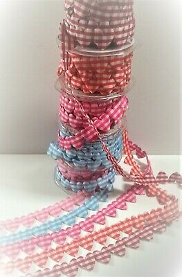 25m Var colours// lengths 2m WOVEN HEARTS Ribbon embroidered style heart