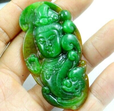 China Old Genuine Jadeite Emerald Jade carved lucky Pendant Guanyin T22