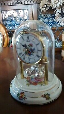 Vintage German Hermle Anniversary Clock Glass Dome Porcelain Base & Face Quartz