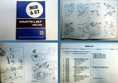 Austin Morris MGB GT Parts List Spare Parts Catalogue 1971 Abridged Edition