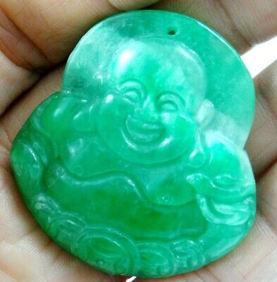 China Old Genuine Jadeite Emerald Jade carved  lucky Pendant BuddhaT03