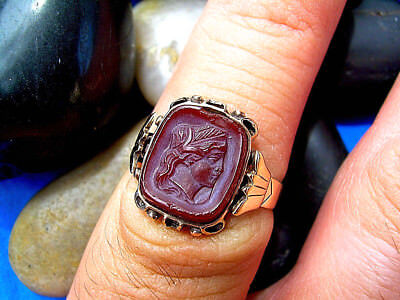 Antique Victorian Deco ring Rose Gold Sard INTAGLIO CARVED CARNELION Cameo