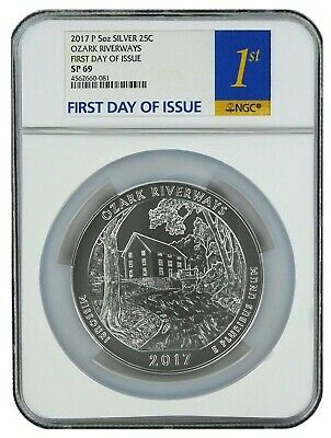 2017 P Ozark Riverways 5oz Silver Coin NGC SP69 - First Day Of Issue