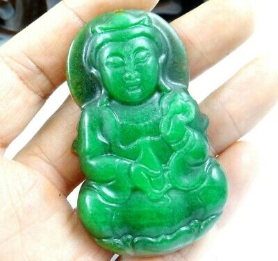 China Old Genuine Jadeite Emerald Jade carved  lucky Pendant GuanyinT08