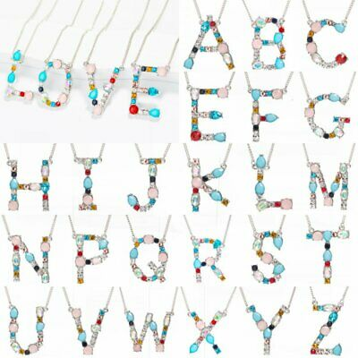 Colorful 26 Letters A-Z Alphabet Filled Crystal Necklaces Pendant Women Jewelry