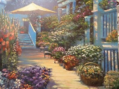 Howard Behrens  canvas Nantucket Flower Market signed& numbered 24 x 30 inches