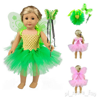Fairy Doll Dress Angel Wing Magic Wand Outfit Clothes For America 18 inch Dolls