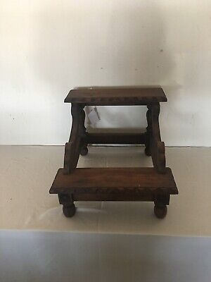 Victorian Hand Carved Mahogany Wood Two Steps