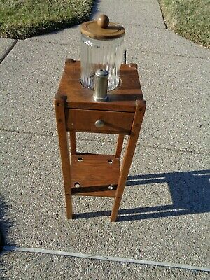 H T Cushman Furniture Arts Crafts mission style tobbaco table tray holder jar