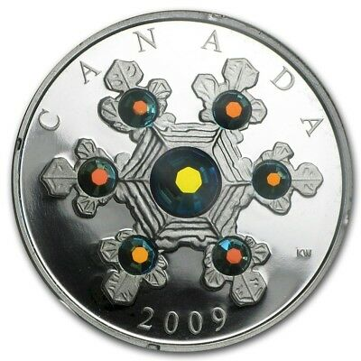 2009 Royal Canadian Mint Blue Version Crystal Snowflake $20 Fine Silver Coin