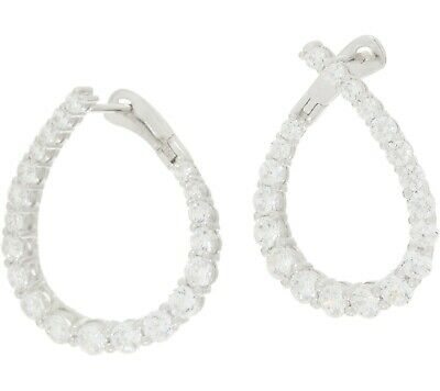 DIAMONIQUE STERLING SILVER 0.85 CT SIMULATED SAPPHIRE HOOP PIERCED EARRINGS QVC