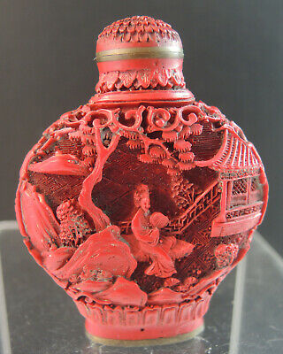 19th Century Chinese Qing Dynasty Carved Hardstone Snuff Bottle - Signed
